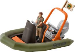 Schleich Wild Life 42352 Schlauchboot mit Ranger, ab 5 Jahre